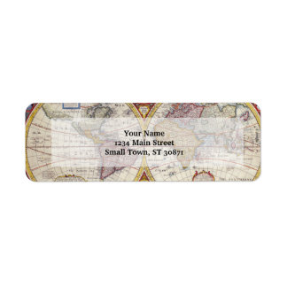 Vintage Antique Old World Map cartography Label