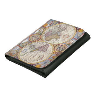 Vintage Antique Old World Map cartography Leather Wallets
