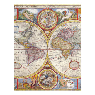 Vintage Antique Old World Map cartography Letterhead