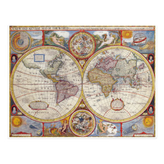 Vintage Antique Old World Map cartography Postcard