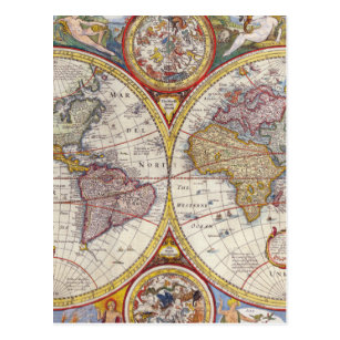 Old india map postcards zazzle vintage antique old world map cartography postcard gumiabroncs Images