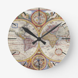 Map of india wall clocks zazzle vintage antique old world map cartography round clock sciox Images
