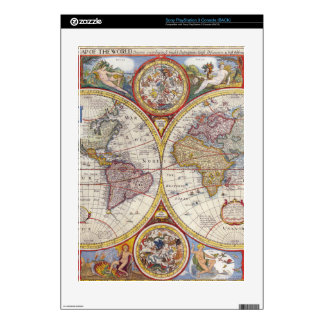 Vintage Antique Old World Map cartography Skins For PS3 Console