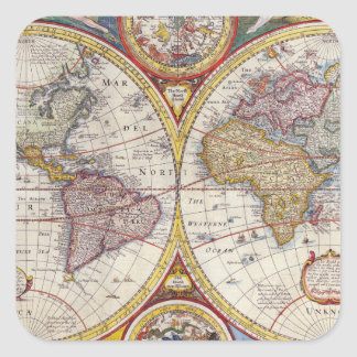 Vintage Antique Old World Map cartography Square Sticker