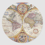 Vintage Antique Old World Map cartography Classic Round Sticker