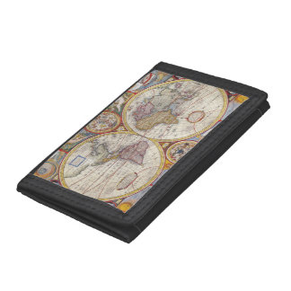 Vintage Antique Old World Map cartography Trifold Wallets