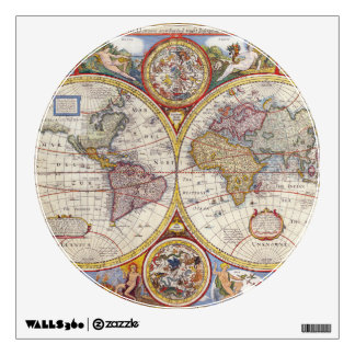 Vintage Antique Old World Map cartography Wall Sticker