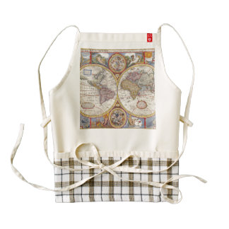 Vintage Antique Old World Map cartography Zazzle HEART Apron