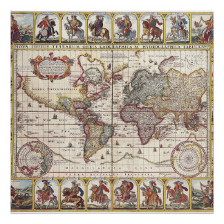 Vintage Antique Old World Map Design Faded Print