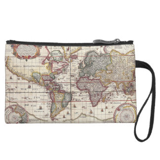Vintage Antique Old World Map Design Faded Print Wristlet Clutch