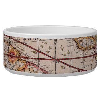 Vintage Antique Old World Map Design Faded Print Bowl