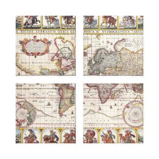 Vintage Antique Old World Map Design Faded Print Canvas Print