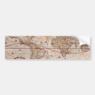 Vintage Antique Old World Map Design Faded Print Car Bumper Sticker
