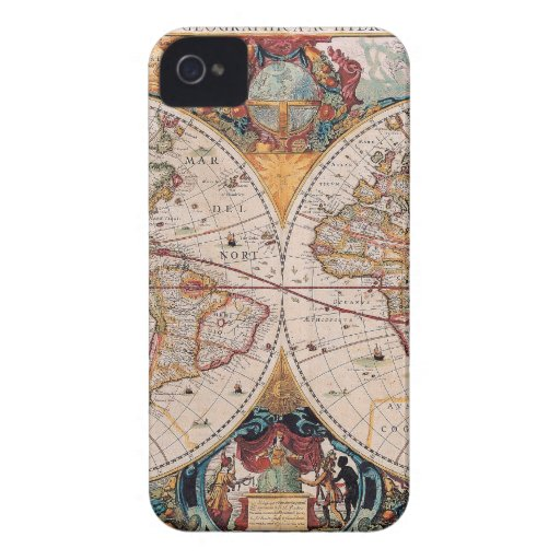 Vintage Antique Old World Map Design Faded Print Case-Mate iPhone 4 Cases