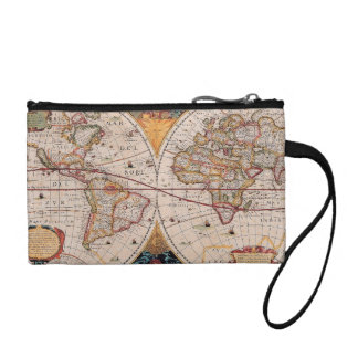 Vintage Antique Old World Map Design Faded Print Coin Purse