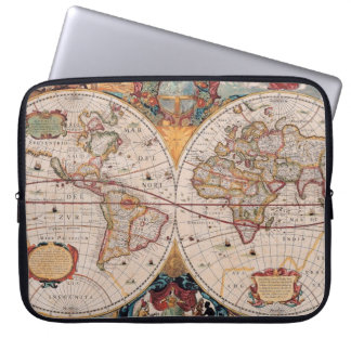 Vintage Antique Old World Map Design Faded Print Computer Sleeve