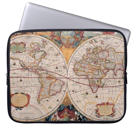 Vintage Antique Old World Map Design Faded Print Computer Sleeve