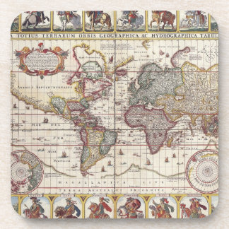 Vintage Antique Old World Map Design Faded Print Drink Coasters