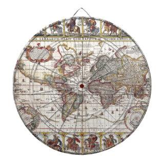 Vintage Antique Old World Map Design Faded Print Dartboards