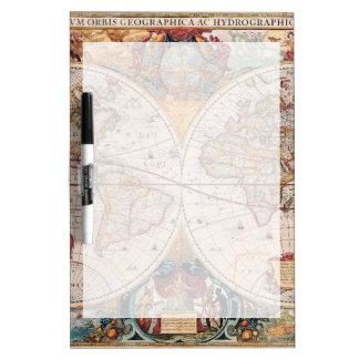 Vintage Antique Old World Map Design Faded Print Dry Erase Board