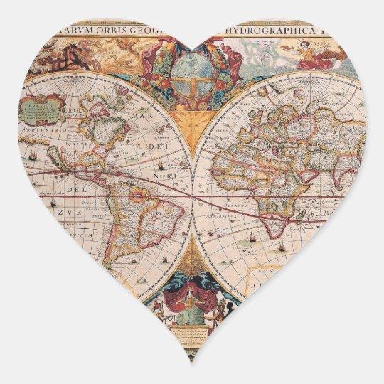 Vintage Antique Old World Map Design Faded Print Heart Sticker