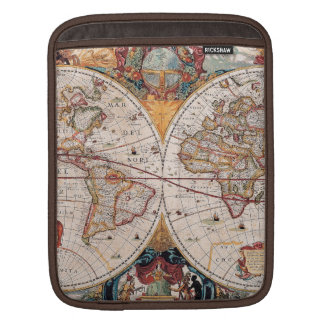 Vintage Antique Old World Map Design Faded Print iPad Sleeves