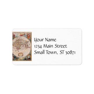 Vintage Antique Old World Map Design Faded Print Personalized Address Labels