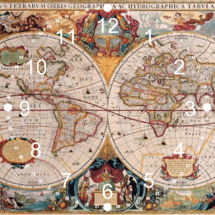 Old world map wall clocks zazzle vintage antique old world map design faded print large clock gumiabroncs Image collections