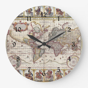 Old world map wall clocks zazzle vintage antique old world map design faded print large clock gumiabroncs Images