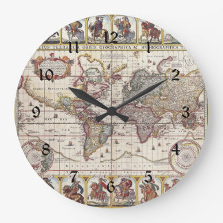 Vintage Antique Old World Map Design Faded Print Large Clock