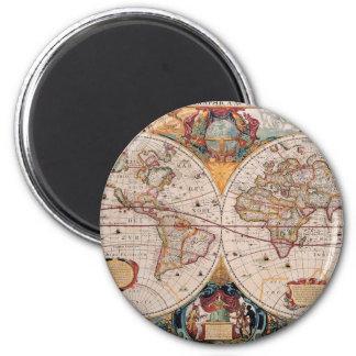 Vintage Antique Old World Map Design Faded Print Magnet