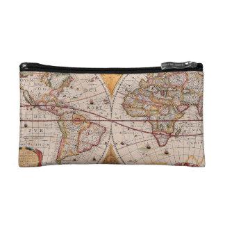 Vintage Antique Old World Map Design Faded Print Makeup Bag