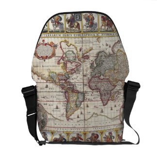 Vintage Antique Old World Map Design Faded Print Courier Bags