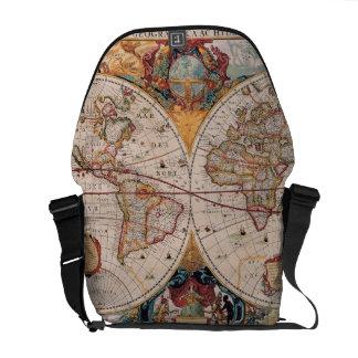 Vintage Antique Old World Map Design Faded Print Messenger Bag