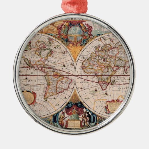 Vintage Antique Old World Map Design Faded Print Metal Ornament