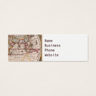 Vintage Antique Old World Map Design Faded Print Mini Business Card