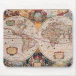 Vintage Antique Old World Map Design Faded Print Mousepads