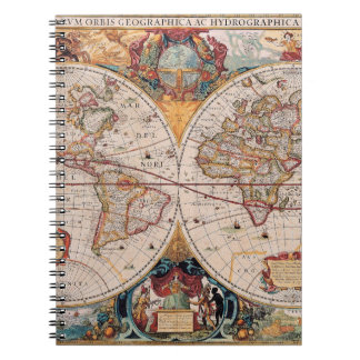 Vintage Antique Old World Map Design Faded Print Notebook