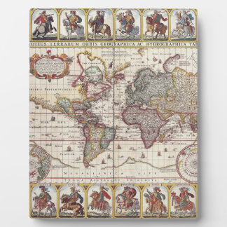 Vintage Antique Old World Map Design Faded Print Photo Plaque