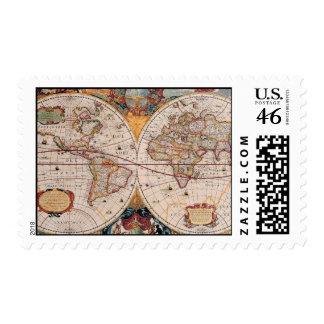 Vintage Antique Old World Map Design Faded Print Stamp