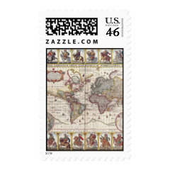 Vintage Antique Old World Map Design Faded Print Postage Stamps
