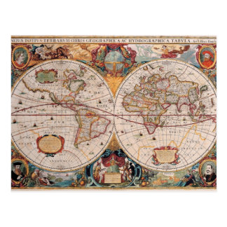 Vintage Antique Old World Map Design Faded Print Postcard