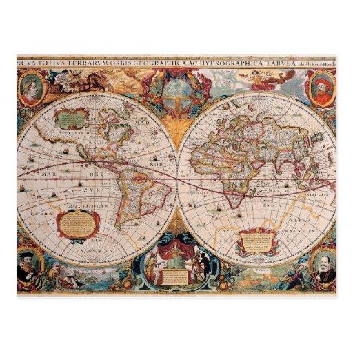 Vintage Antique Old World Map Design Faded Print Postcard