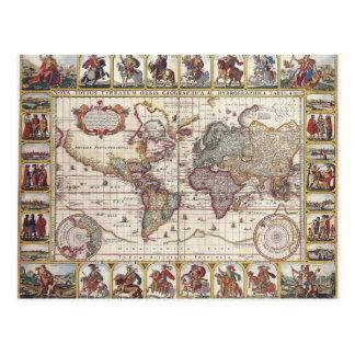 Vintage Antique Old World Map Design Faded Print Post Cards