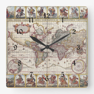 Vintage Antique Old World Map Design Faded Print Square Wall Clock