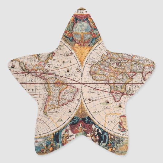Vintage Antique Old World Map Design Faded Print Star Sticker