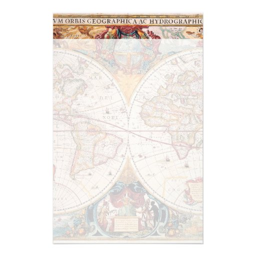 Vintage Antique Old World Map Design Faded Print Stationery