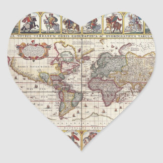 Vintage Antique Old World Map Design Faded Print Heart Stickers