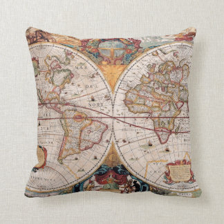 Vintage Antique Old World Map Design Faded Print Throw Pillow