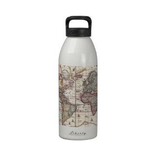 Vintage Antique Old World Map Design Faded Print Reusable Water Bottles